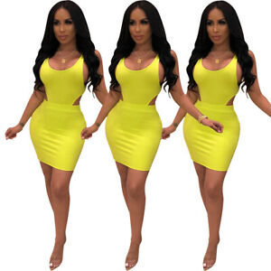 Sexy-Women-Solid-Color-Scoop-Neck-Sleeveless-Bodycon-Club-Party-Mini-Dress-2pc