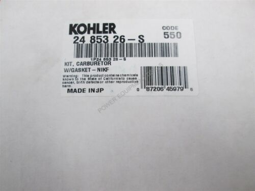 Genuine Kohler CARBURETOR W//GASKET-NIKF Part # 24 853 26-S