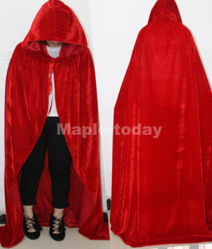 Men Women Velvet Cape Hood Halloween Robe Medieval Witch Cosplay Costume Cloak