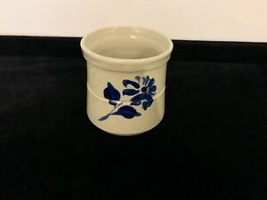"Williamsburg Pottery Factory 4"" Mug Cup Cobalt Blue Flower Salt Glazed WPF-2000"