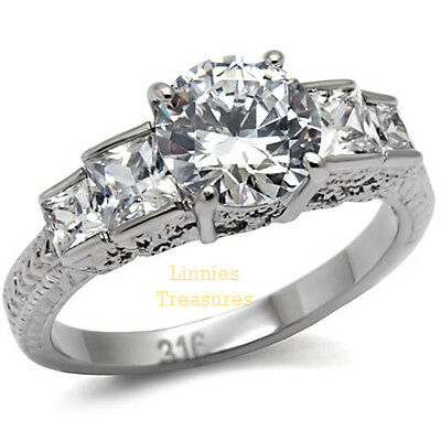 Princess Cut Engagement Ring 8mm Round CZ &  Accents Womens Stainless Steel