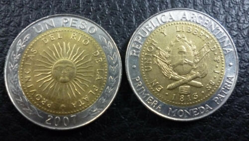 ARGENTINA BIMETALLIC COIN 1 Peso KM112.1 UNC  2007 Radiant Sun