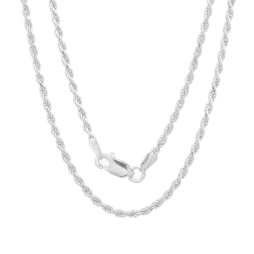 """20 /"""" Italian Diamond Cut Rope Chain Necklace .925 Sterling Silver Lobster Claw"""