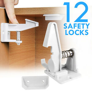 Details about Cabinet Locks Child Safety Latch Baby Proof Lock Drawer 12  Pack White