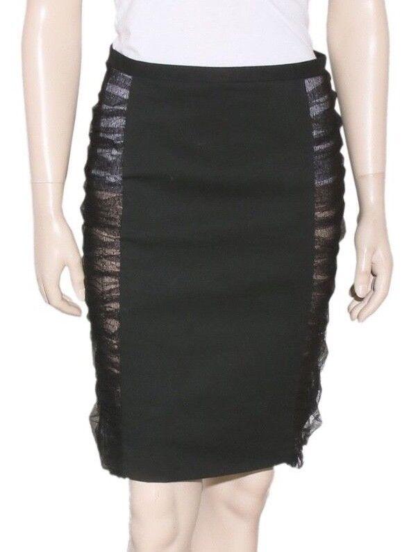 FENDI Tulle-Panelled Pencil Skirt (Size 40)