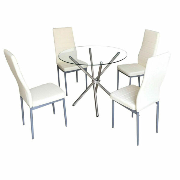 Modern Dining Table Sets On Sale: Glass Round Dining Table Set And 4 White Chairs Faux