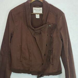 American-Rag-Jacket-Draped-Front-Brown-Asymmetric-Button-Up-Large-Raw-Hem