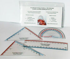 Ensemble géométrique flexible et coloré, durable 4 outils Rapporteur Couleur
