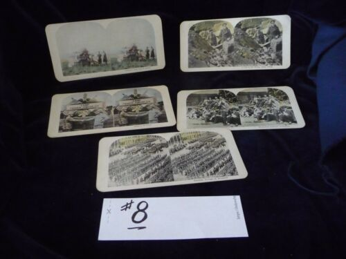 #104#8 antique MIX LOT 0f 5 stereoview cards photographic images oF MILITARY
