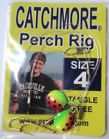 Perch Rigs, Catchmore, Three Pks, Size 4 Hook, Watermelon, Tangle Free Pr-6-4