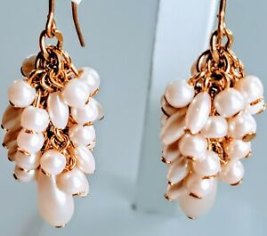 Vintage-MONET-Gold-Tone-Faux-Pearl-Dangle-Drop-Fancy-Hook-Pierced-Earrings