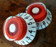 2 Guitar top hat volume / tone knobs. White/Red.. JAT CUSTOM GUITAR PARTS