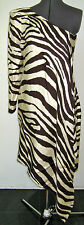 CHIC VTG 1990s THIERRY MUGLER SILK DRESS CREAM BROWN ZEBRA ONE SHOULDER 42 8 10