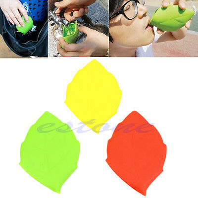 Healthy Silicone Travel Mug Leaf Shape Camping Hiking Outdoor Pocket Drink Cup