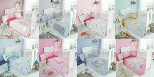 NURSERY-BABY BEDDING SET COVERLET BUMPER-FITTED SHEET 3 PIECES COT BED