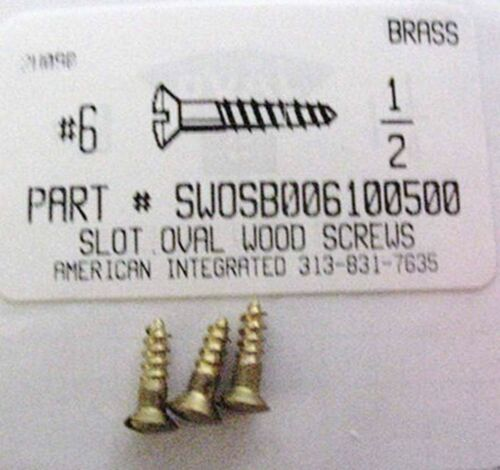#6x1//2 Oval Head Slotted Wood Screws Solid Brass 50
