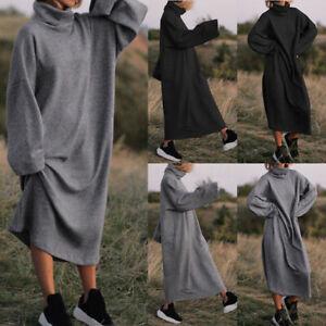 Mode-Femme-Couleur-Unie-Col-Haut-Manche-Longue-Ample-Droit-Jupe-Robe-Midi-Plus