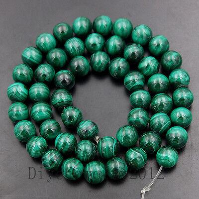 "Natural Green Malachite Gemstone Round Loose Beads 15"" 4mm 6mm 8mm 10mm 12mm"