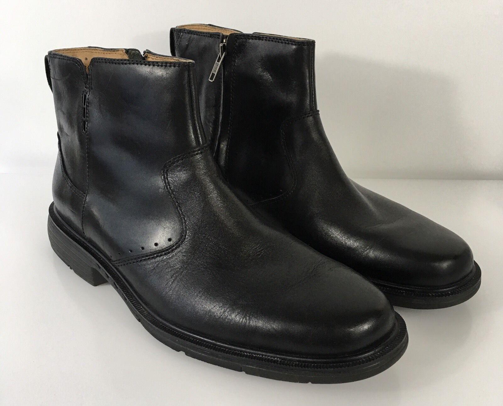 Clarks Unstructured Mens Sz 8.5M Black Leather Dress Ankle Boots