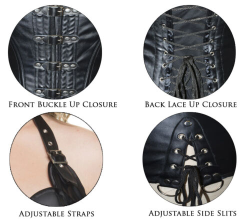 Black-Style # C1206W Mystery House Womens Plus Size Buckle Up Gothic Corset