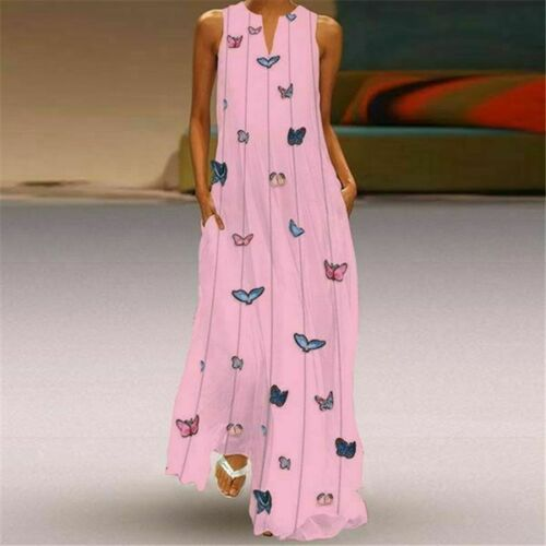 Floral V Neck Fashion Long Sleeve women/'s Casual beach Party Cocktail Loose Maxi