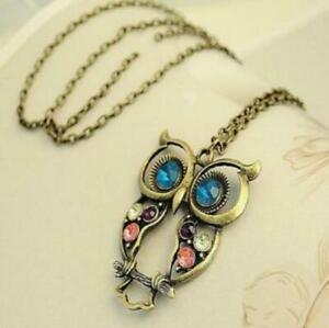 Womens-Vintage-Rhinestone-OWL-Pendant-Long-Chain-Necklace-Fashion-Jewellery