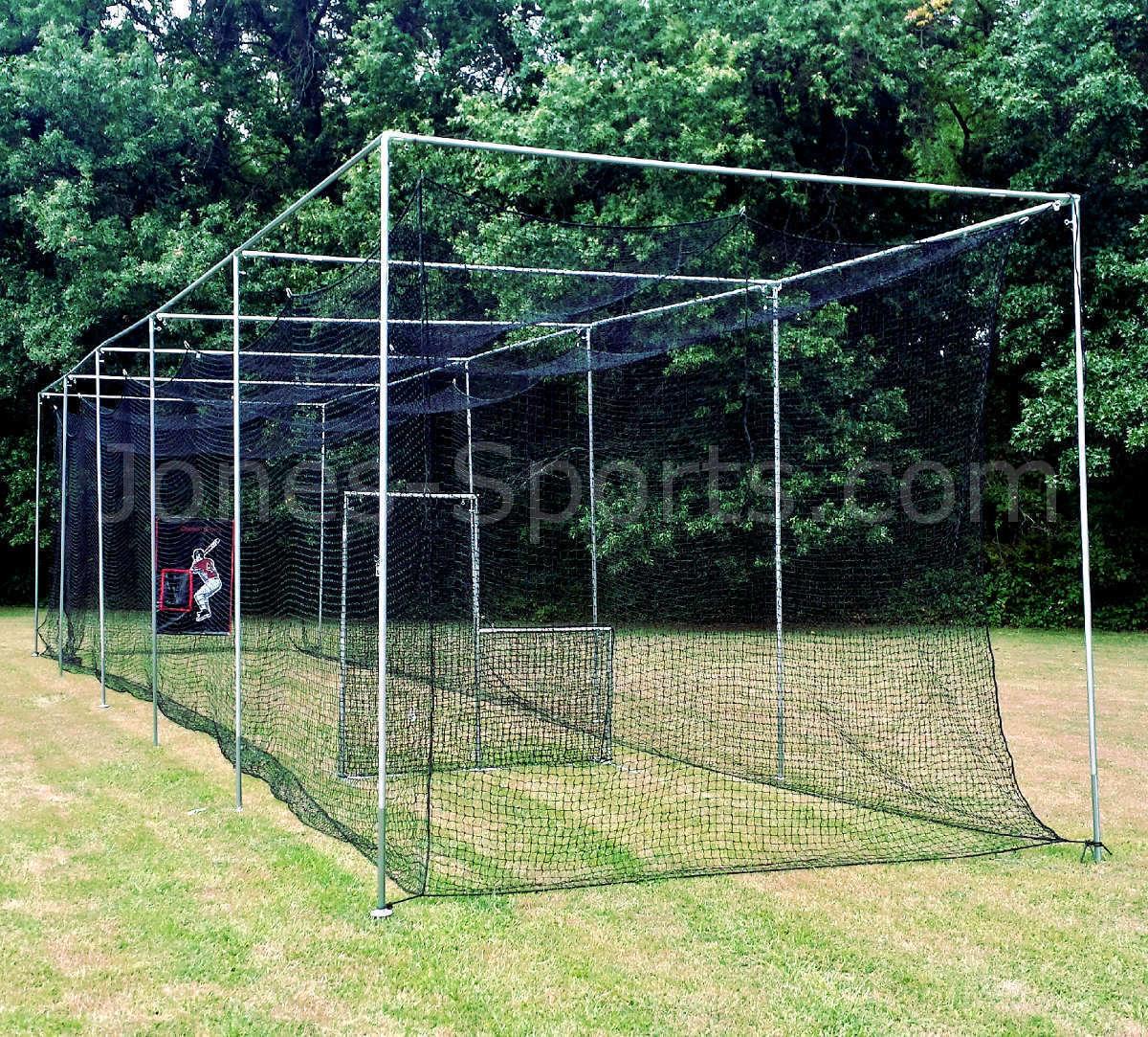 Batting Cage Net 10' x 12' x 50' HDPE (60PLY) with Door Heavy Duty Baseball