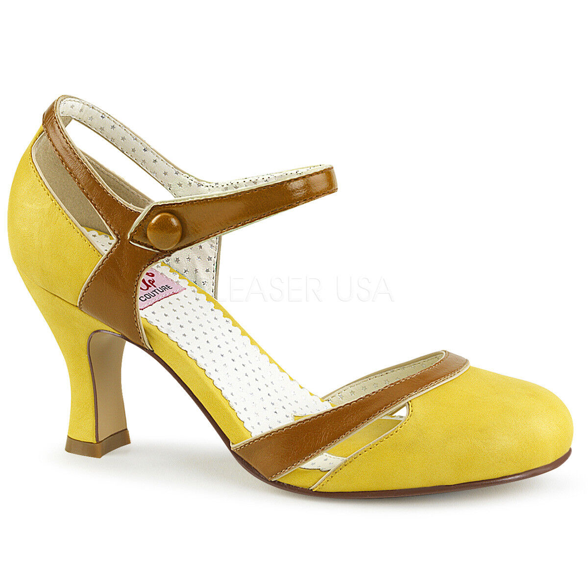 Pin Up Couture FLAPPER-27 Women's Yellow-Tan Leather Heels Round Toe Pump Sandal
