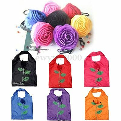 HOT Rose Flower Reusable Storage Folding Shopping Bag Travel Grocery Bags Tote