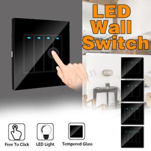 1-2-3-4-Gang-En-Verre-Trempe-Interrupteur-Mural-Tactile-Controle-Lumiere-LED