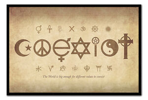 Coexist-The-World-Is-Big-Enough-Framed-Cork-Pin-Notice-Board-With-Pins