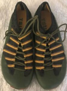 TSUBO-Green-Leather-Black-Mesh-Brown-Yellow-Stripe-Lace-Up-Sneakers-Size-9-42M