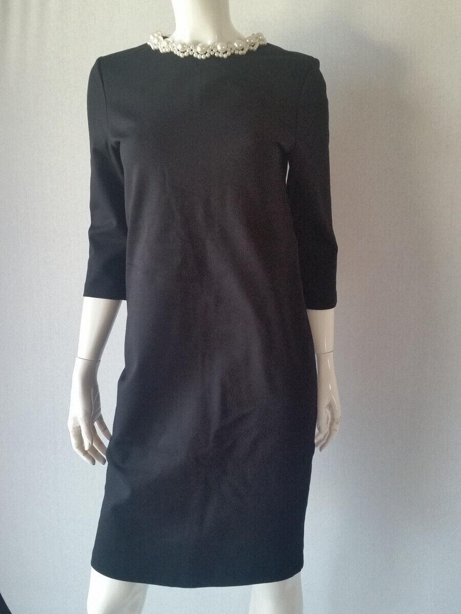 HALLHUBER Kleid Jerseykleid black mit Perlenkragen 3 4Arm Gr.34--UK6NEU