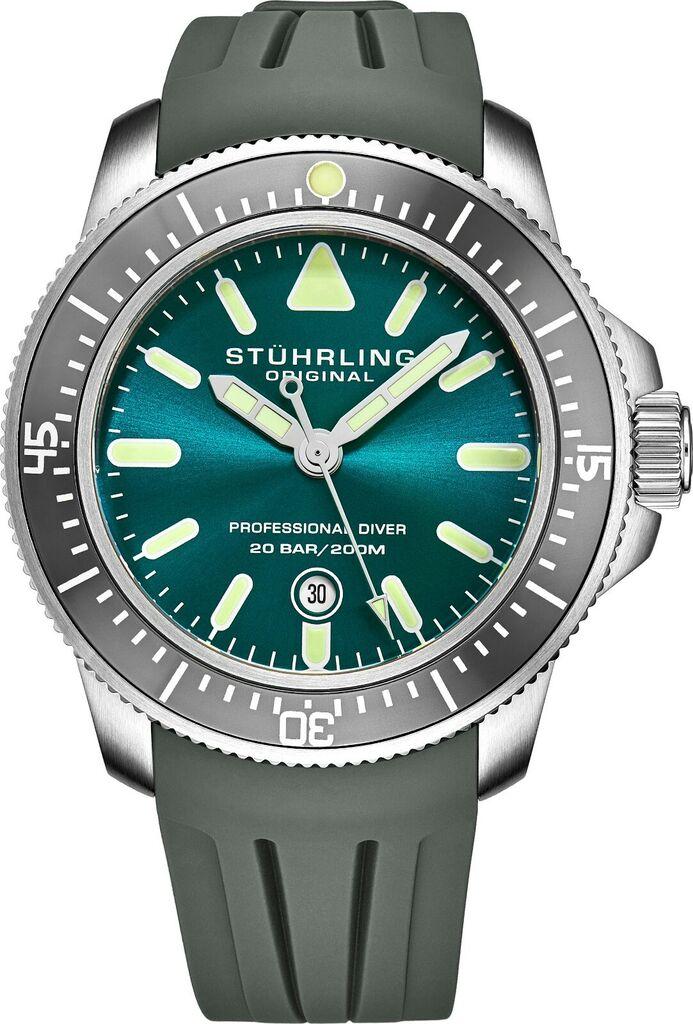 Stuhrling Men's Japan Quartz Turquoise Dial, Grey Rubber Strap Divers Watch | Ebay