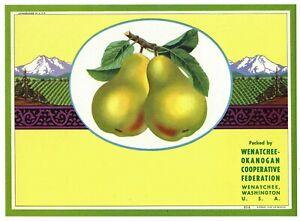 Wenatchee Okanogn Cooperative Federation Pear Crate Label Washington