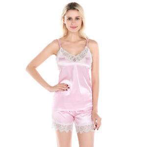 2PCS Women Lace Silk Sleeveless Tops Vest Underwear Shorts Sleepwear ... 7b1e7e646