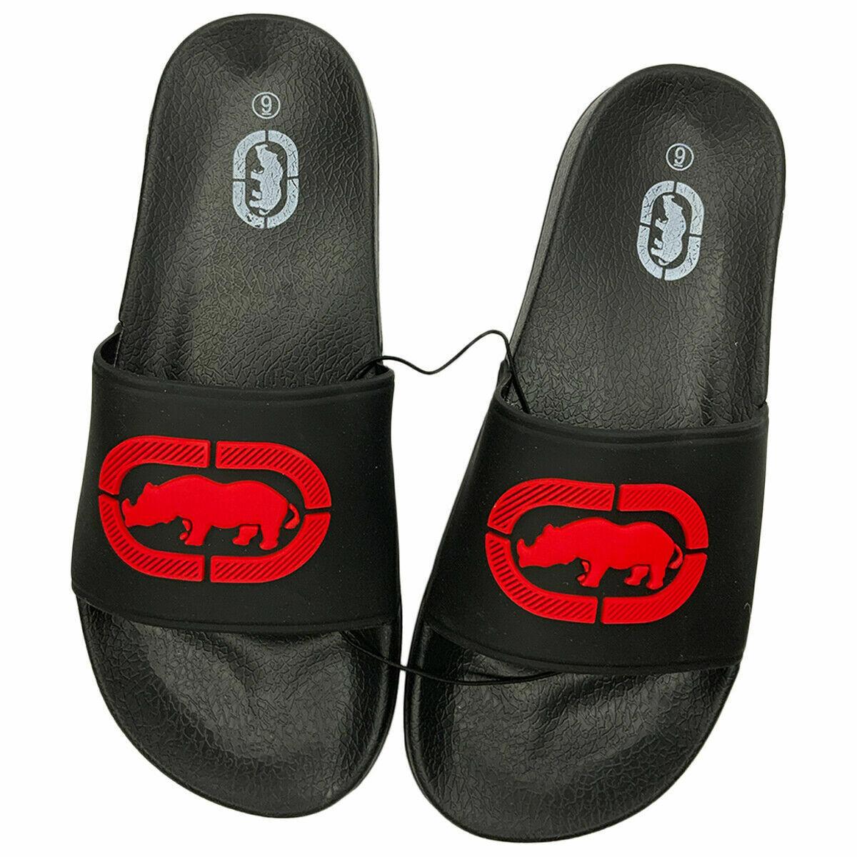 NWT ECKO UNLTD. AUTHENTIC MEN'S 3D LOGO BLACK RED SLIP ON SLIDE SANDALS