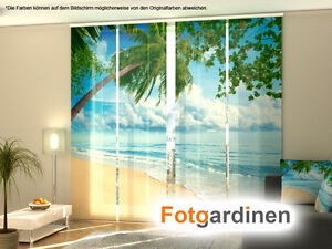 fotogardinen strand schiebevorhang schiebegardinen 3d fotodruck auf ma ebay. Black Bedroom Furniture Sets. Home Design Ideas