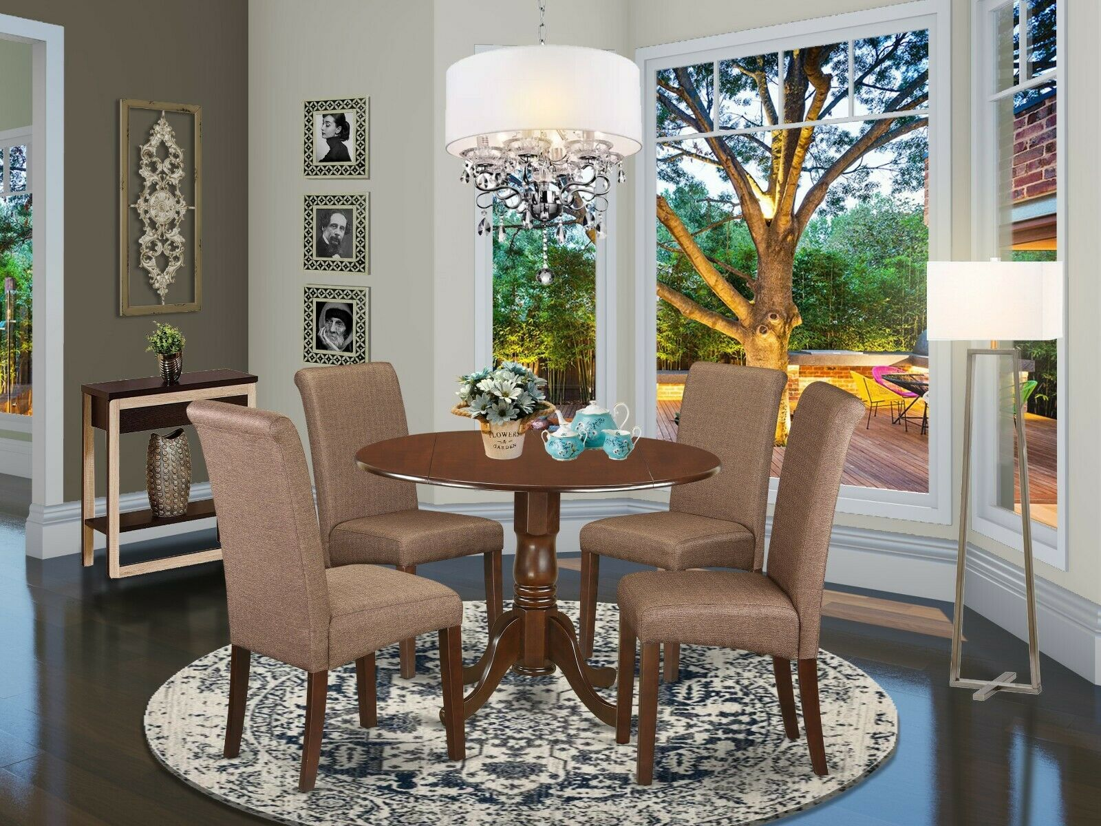 Eden 5pc Round Pedestal Cherry Finish Wood Kitchen Dining Room Table Set Chairs For Sale Online Ebay
