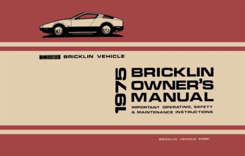 1975 Bricklin Owners Manual User Guide Reference Operator Book