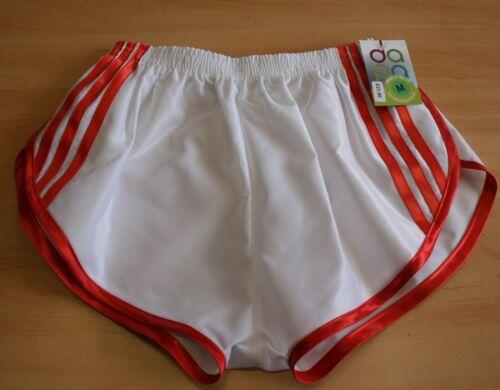 retrò S e a di bianco raso Sprinter nylon a 4xl righe Shorts rosso in vCqwYXxCA