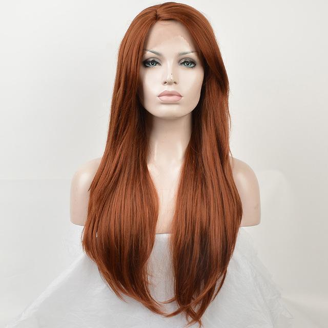 Natural Womens Long Straight Auburn Red Orange