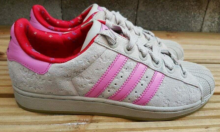 ADIDAS Superstar Shell Toe Toe Toe Scarpe Da Ginnastica In Grigio Scamosciato E in rosa Taglia 6.5 UK RARO c068b5