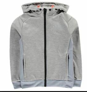 adidas-Tech-Logo-Tracksuit-Hoody-Junior-Boys-Hoodie-Grey-Size-7-8-Years-REF57