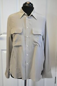 Women-039-s-Ralph-Laurent-Silk-Shirt-Blouse-in-Taupe-size-10