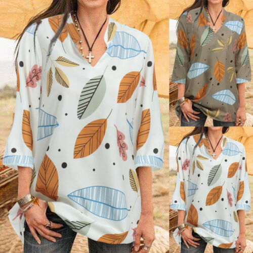 Women Ladies Short Sleeve Floral Printed Tops Shirt Casual Summer Holiday Blouse