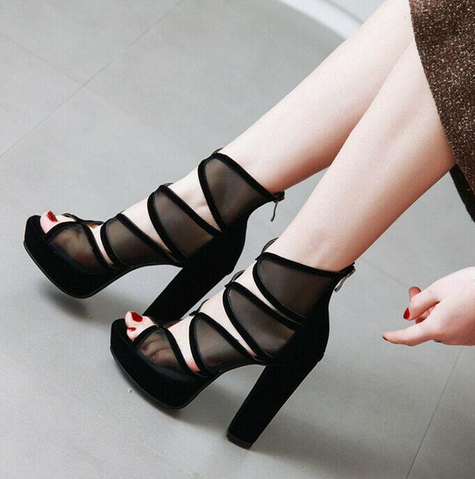 Sexy Gladiator Womens Block Heels Sandals TOP Pumps Hollow Mesh Platform shoes