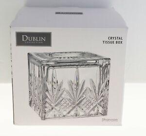 "Gorgeous Godinger Dublin Crystal Tissue Box Shannon 6.5"" NEW IN BOX"