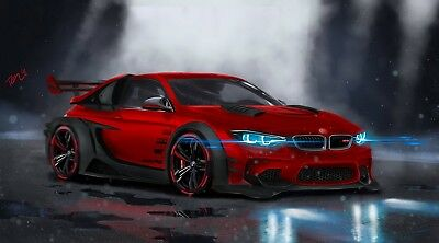 BMW M4  Modified Print Poster or Canvas