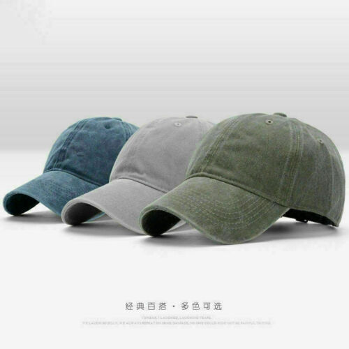 Men Plain Washed Cap Cotton Adjustable Baseball Cap Blank Solid Baseball Hat